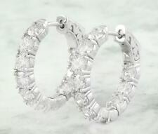 4 CT Brilliant White Moissanite Huggie Hoop Earrings In 14k White Gold Finish