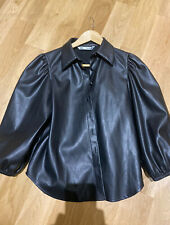 Zara Faux Leather Puff Sleeve Shirt Size S