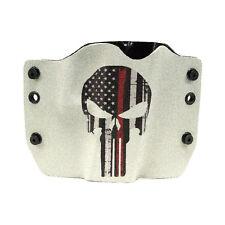 OWB Kydex Gun Holsters, Punisher Red Line Gray for Glock Handguns
