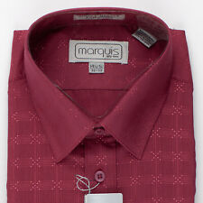 """Red with Shiny Diamond Pattern 14 1/2"""" New Old Stock Dress Shirt by Marquis"""