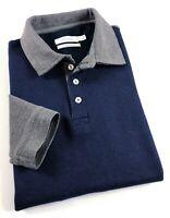 CALVIN KLEIN Polo Shirt Men's Body Fit Long Sleeve Navy / Grey Colour Block