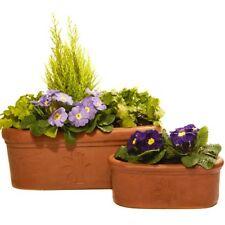 Set of 2 Terracini Thrive Oval Trough Garden Planters/30cm and 50cm Plant Pots