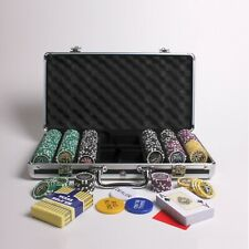 More details for 300 numbered casino poker chip set with 13.5 gram chips, buttons & playing cards
