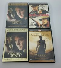 Lot of 4 Russell Crowe Dvds beautiful mind gladiator 3:10 to yuma Row K