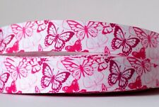 1M X 22mm Grosgrain Ribbon Craft DIY Cake Decorations Hair Bows Pink Butterfly