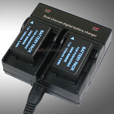 Dual Charger +2x 1.2A Battery for Panasonic DMW-BMB9e DMC-FZ72 DMC-FZ60 DMC-FZ62