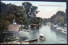 KANSAS CITY MO~1913 BOATING ON BLUE RIVER ~ BOAT HOUSE ~ CANOES FOR RENT
