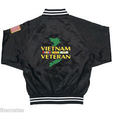 VIETNAM VETERAN RIBBON MAP WITH FLAG S M L XL XXL BLACK MILITARY SATIN JACKET