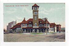 PORTLAND MAINE PC Postcard GRAND TRUNK DEPOT Railroad RR Station TRAIN Trains ME