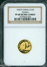 1987-P 10Y PROOF GOLD 1/10 Oz. Chinese PANDA NGC PR68 PF68 CHINA G10Y 10 Yuan Yn