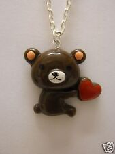"Teddy Bear Love Heart Pendant With 18"" Silver Plated Necklace"