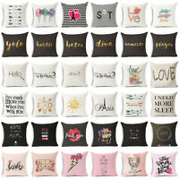 "18"" Funny Art Words Cotton Linen Pillow Case Sofa Throw Cushion Cover Home Decor"