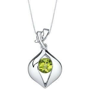 1 carat Green Peridot Gemstone Pendant Necklace Sterling Silver