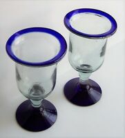 "2 Cobalt Blue Rimmed Stemmed Water Goblets 12 oz. Hand Blown Mexican 7 1/4"" Tall"