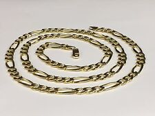 "14kt Solid Gold Figaro curb link chain/necklace 24"" 7MM 37 grams FIG180"