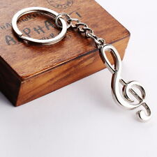 Stainless Steel Metal Treble Clef Musical Symbol Key Ring Key Chain Gift SY