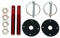 Red Hood Pin w/ Black Plates Kit Flip-Over Style Universal for Chevy Ford Mopar