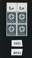 MNH Stamp Block / PF04 1942 Issue / WWII Party emblem / Third Reich era  Germany