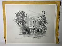 "RARE Dick Van Den Hoogen Lithograph Drawing Print Calgary ""Ranchman's Club"" RARE"