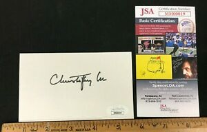 CHRISTOPHER LEE HAND SIGNED 3X4 CARD W/JSA/COA STAR WARS HORROR ACTOR SM