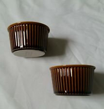 REDUCED ❀ڿڰۣ❀ VILLEROY & BOCH Set of Two DARK RUSSET BROWN Ribbed RAMEKINS ❀ڿڰۣ❀