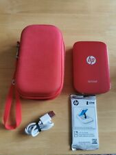 Red HP Sprocket Portable Instant Photo Printer With Case, Paper Charger