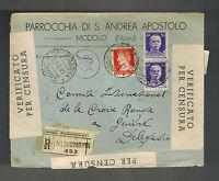 1941 Nuoro Italy censored cover to Switzerland Red Cross