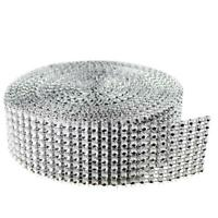 Wedding Diamond Mesh Wrap Roll Sparkle Rhinestone Looking Ribbon Silver UK