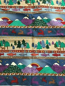 Pine Brook Collection Jean Wells Cotton Quilting Border Print Nature Scenes 1 yd