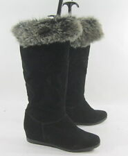 "Black 2.5"" Wedge Heel Round Toe Warm Sexy Winter Boots Size 8.5"