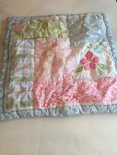 """Pottery Barn Kids Sham Hibiscus Pink Blue 24x24"""" Quilted"""
