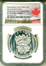 2016 Canada S$25 Parliament Sculptural Art Grotesque Wild Green Man NGC PF70 UC