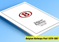 COLOR PRINTED BELGIUM RAILWAYS POST 1879-1987 STAMP ALBUM PAGES (54 ill. pages)