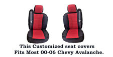 Black/Red Deluxe Mesh Fabric Customized seat covers Fit's 00-06 Chevy Avalanche.