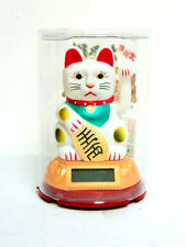 """3"""" Chinese Solar Powered Waving Lucky Cat (White) - Ideal Feng Shui Display"""