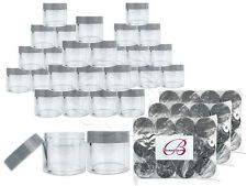 30 Pieces 30 Gram/30ml Plastic Clear Sample Jar Containers with Gray Flat Lids