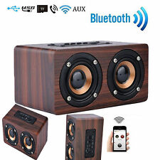 Vintage Wooden 3D Stereo Wireless Bluetooth Dual Loudspeake SPEAKER BROWN