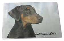 Doberman Pinscher-With Love Extra Large Toughened Glass Cutting, Ch, AD-DM1uGCBL