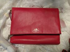 NWT Coach Madison Loganberry Pink Leather Foldover Crossbody Bag 51896 Gold $198