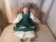 "Wood Doll hand made & painted w detail, 20"" tall, cloth torso, woman folk art VG"