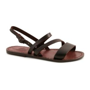 Handmade open sandals ankle strap Italian Shoes for women genuine brown leather