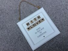 """NEW White Wooden Scrabble Letters """"With Love"""" Hanging Sign Shabby Chic Home XMAS"""