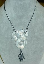 Authentic LALIQUE Serpent Snake Opalescent Milky Crystal Necklace Tassel in Box