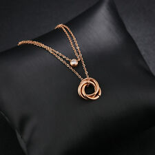 3 rings Rolling Rose Gold GP Surgical Stainless Steel Pendant with Necklace Gift