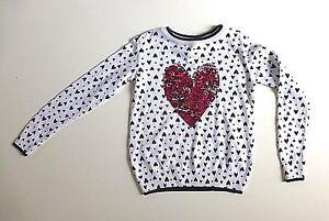 Girl's  Black & White Love Heart Top-Sequin Heart Design - Age 4-5 Years- NEW
