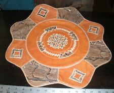 """NEW African Throw PILLOW Handmade in NIGERIA Faux Snake/Leather 8 Side Star 18""""W"""