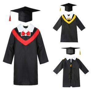 Kid Boys Girls Primary School Preschool Graduation Gown+Tassel Cap Fancy Costume