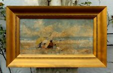 Exquisite French Impressionist Oil on Canvas - Family at the Beach