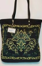 NWT ISABELLA FIORE VICTORIA EMERALD GREEEN EMBROIDERED STUDDED SHOPPER TOTE $155