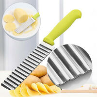 Stainless Steel Potato Cutter Chip Vegetable Crinkle Wavy Cutter Fry Making Tool
